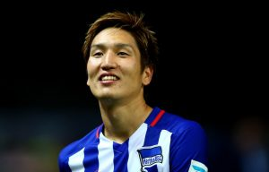 BERLIN, GERMANY - SEPTEMBER 22: Genki Haraguchi of Berlin celebrates after the Bundesliga match between Hertha BSC Berlin and 1. FC koelm at Olympiastadion on September 22, 2015 in Berlin, Germany. (Photo by Martin Rose/Bongarts/Getty Images)